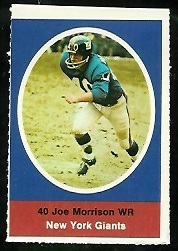 Joe Morrison 1972 Sunoco Stamps football card