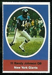 Randy Johnson 1972 Sunoco Stamps football card