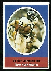 Ron Johnson 1972 Sunoco Stamps football card