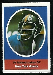 Roland Lakes 1972 Sunoco Stamps football card