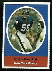 Jim Files 1972 Sunoco Stamps football card