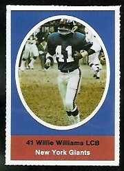 Willie Williams 1972 Sunoco Stamps football card