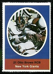 Otto Brown 1972 Sunoco Stamps football card
