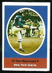 Tom Blanchard 1972 Sunoco Stamps football card