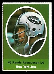Randy Rasmussen 1972 Sunoco Stamps football card