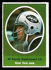 Randy Rasmussen 1972 Sunoco Stamps football card