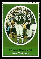 Dave Herman 1972 Sunoco Stamps football card