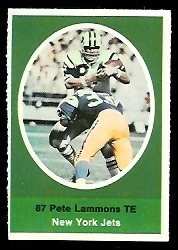 Pete Lammons 1972 Sunoco Stamps football card