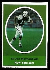 Don Maynard 1972 Sunoco Stamps football card