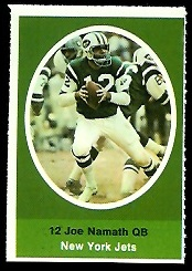 Joe Namath 1972 Sunoco Stamps football card