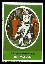 Bobby Howfield 1972 Sunoco Stamps football card