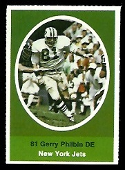 Gerry Philbin 1972 Sunoco Stamps football card