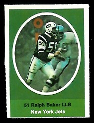 Ralph Baker 1972 Sunoco Stamps football card