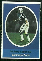 Jerry Logan 1972 Sunoco Stamps football card
