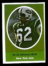 Al Atkinson 1972 Sunoco Stamps football card