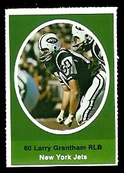 Larry Grantham 1972 Sunoco Stamps football card