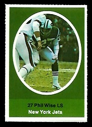 Phil Wise 1972 Sunoco Stamps football card