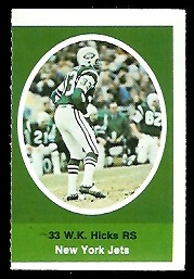 W.K. Hicks 1972 Sunoco Stamps football card