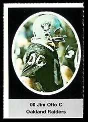 Jim Otto 1972 Sunoco Stamps football card
