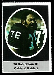 Bob Brown 1972 Sunoco Stamps football card