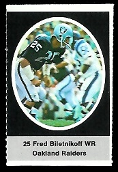 Fred Biletnikoff 1972 Sunoco Stamps football card