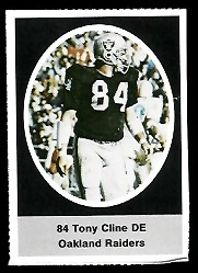 Tony Cline 1972 Sunoco Stamps football card