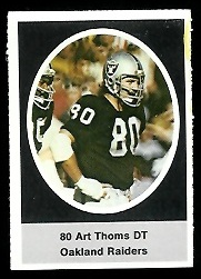 Art Thoms 1972 Sunoco Stamps football card