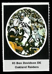 Ben Davidson 1972 Sunoco Stamps football card