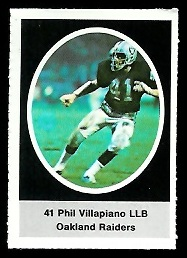 Phil Villapiano 1972 Sunoco Stamps football card