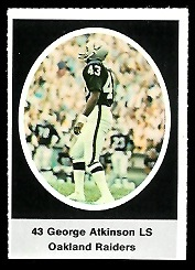 George Atkinson 1972 Sunoco Stamps football card