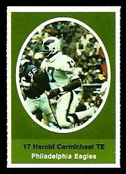 Harold Carmichael 1972 Sunoco Stamps football card