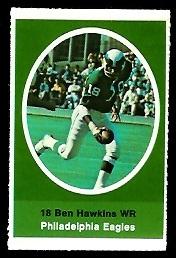 Ben Hawkins 1972 Sunoco Stamps football card