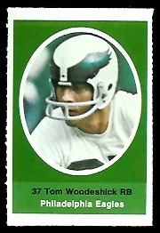 Tom Woodeshick 1972 Sunoco Stamps football card