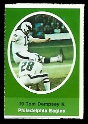 Tom Dempsey 1972 Sunoco Stamps football card