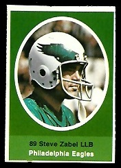 Steve Zabel 1972 Sunoco Stamps football card