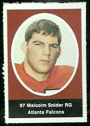 Malcolm Snider 1972 Sunoco Stamps football card
