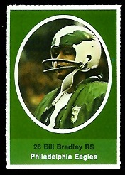 Bill Bradley 1972 Sunoco Stamps football card