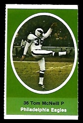 Tom McNeill 1972 Sunoco Stamps football card