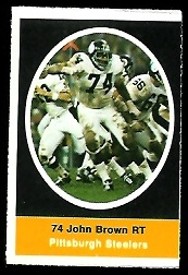 John Brown 1972 Sunoco Stamps football card