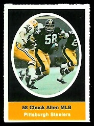 Chuck Allen 1972 Sunoco Stamps football card