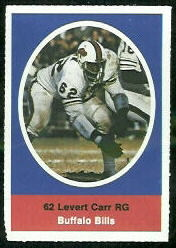 Levert Carr 1972 Sunoco Stamps football card