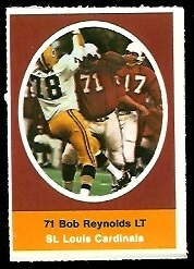 Bob Reynolds 1972 Sunoco Stamps football card