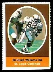 Clyde Williams 1972 Sunoco Stamps football card