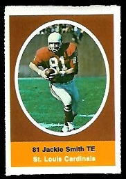 Jackie Smith 1972 Sunoco Stamps football card