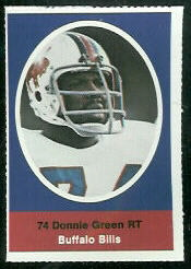 Donnie Green 1972 Sunoco Stamps football card