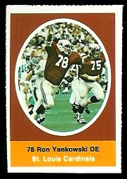 Ron Yankowski 1972 Sunoco Stamps football card