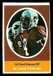 Fred Heron 1972 Sunoco Stamps football card