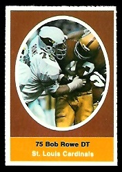 Bob Rowe 1972 Sunoco Stamps football card