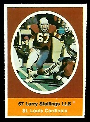 Larry Stallings 1972 Sunoco Stamps football card
