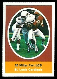 Miller Farr 1972 Sunoco Stamps football card